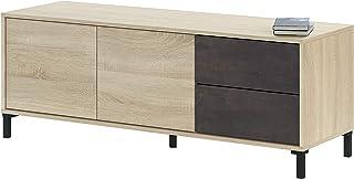 Habitdesign 0X6622F - Modulo de TV, Modelo Brooklyn, Roble Canadian y oxido, Medidas: 130 cm (Ancho) x 47 cm (Alto) x 41 cm (Fondo)