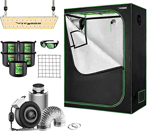"""discount VIVOSUN 48""""×24""""×60"""" Mylar Hydroponic Grow popular Tent Complete Kit with 4 Inch Inline Fan Combo Ventilation System, VS2000 LED Grow discount Light, Glasses, Grow Bags, Trellis Netting online"""