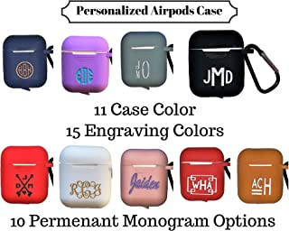 Personalized Airpods Case Keychain, 11 Case Colors, 10 Monogram Design Options, 15 Engraving Colors