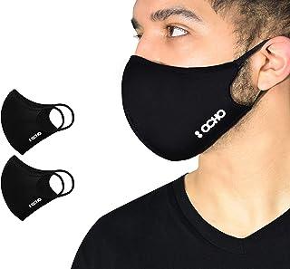 OCHO - MASCARILLA Higiénica Reutilizable Negra - Pack de 2 mascarillas CERTIFICADAS BFE+ 90% para 5 lavados, 3 tallas