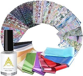 AIFAIFA 53 Pcs Nail Transfer Foils for Women, 5 Style Metallic Chrome Marble Boho Letter Nail Art Supply Decals, with Nail Foil Glue for Gel Nail Polish Acrylic Nail Painting Home DIY Nail Art