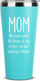 Mom, Ugly Children | 30 oz Mint Insulated Stainless Steel Tumbler w/Lid Mug Cup for Women | Birthday Mothers Day Christmas Gift Ideas from Daughter Son | Mother Moms Madre Gifts Idea Kid Children