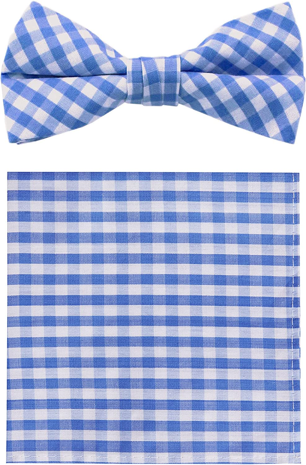 Jacob Alexander Gingham Men's Pre-Tied Clip-On Bow Tie and Pocket Square Set