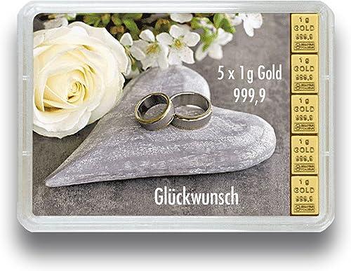 Valcambi 3g 5g oder 10g Goldbarren Goldtafel in der Motivbox Hochzeit - Geschenkidee zur Hochzeit - W bar zwischen 3g 5g 10g 999.9 FeinGold