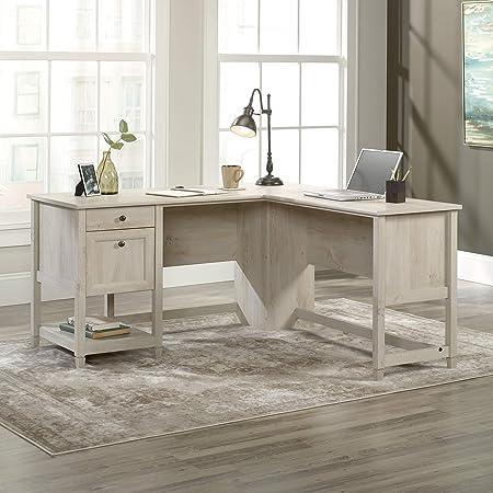 "Sauder Edge Water L-Shaped Desk, L: 59.06"" x W: 58.74"" x H: 29.57"", Chalked Chestnut"