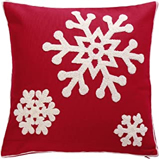 1 Pcs Red Christmas Pillow Covers Embroidered Throw Pillow Cases Cotton Farmhouse 18x18 Inches Snowflakes Decorative Cushion Cover