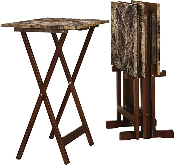 Faux Marble TV Tray Table Set Expresso By Linon Home Decor