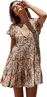 Women Summer Short Sleeve Cotton Floral Print Button Up Casual Loose Beach Boho Short Dress