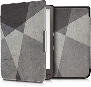 kwmobile Case for Pocketbook InkPad 3/3 Pro - Book Style PU Leather Protective e-Reader Cover Folio Case - Geometric Grey/Black