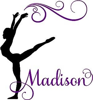 Gymnast Gymnastics Dance Personalized Custom Girl Name Vinyl Wall Decal Sticker Room Decor B (JUMBO 40