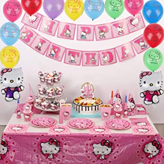 Nelton Party Supplies For Hello Kitty Includes Cake Toppers , Cupcake Toppers and Wrappers, Balloons, Candy Bags, Popcorn Boxes, Noisemakers, Tablecloth, Party Hats, Trumpets, Plates, Paper Cups, Straws, Napkins, Knives, Forks, Spoons