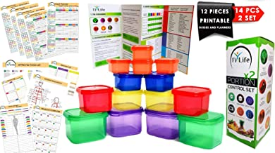 21 Day Portion Control Containers - Double Set (14-Piece) - Portion Control Sets for Diet Meal Preparation - Meal Prep System for Weight Loss (BPA Free)