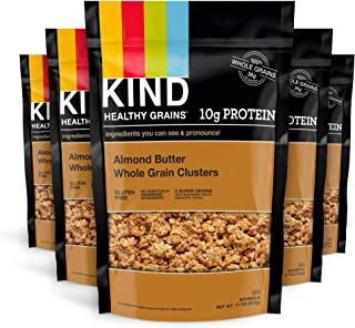 KIND Healthy Grains Clusters, Almond Butter Granola, 10g Protein, Gluten Free, 11 Ounce (Pack of 6)
