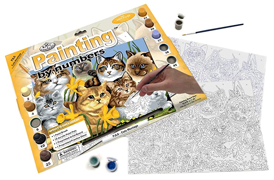 Royal & Langnickel PJL6 Painting by Numbers Junior Large Art Activity Kit, Cats Montage