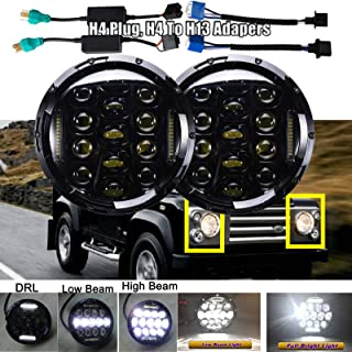 7 Inch Round LED Headlights Replacement Kit For Land Rover Defender 90 110 Range Rover Super Bright Sealed Beam Trucks Lights H5024 H6017 H6024 with High Beam/Low Beam/DRL Lamps H4 H13 Plug