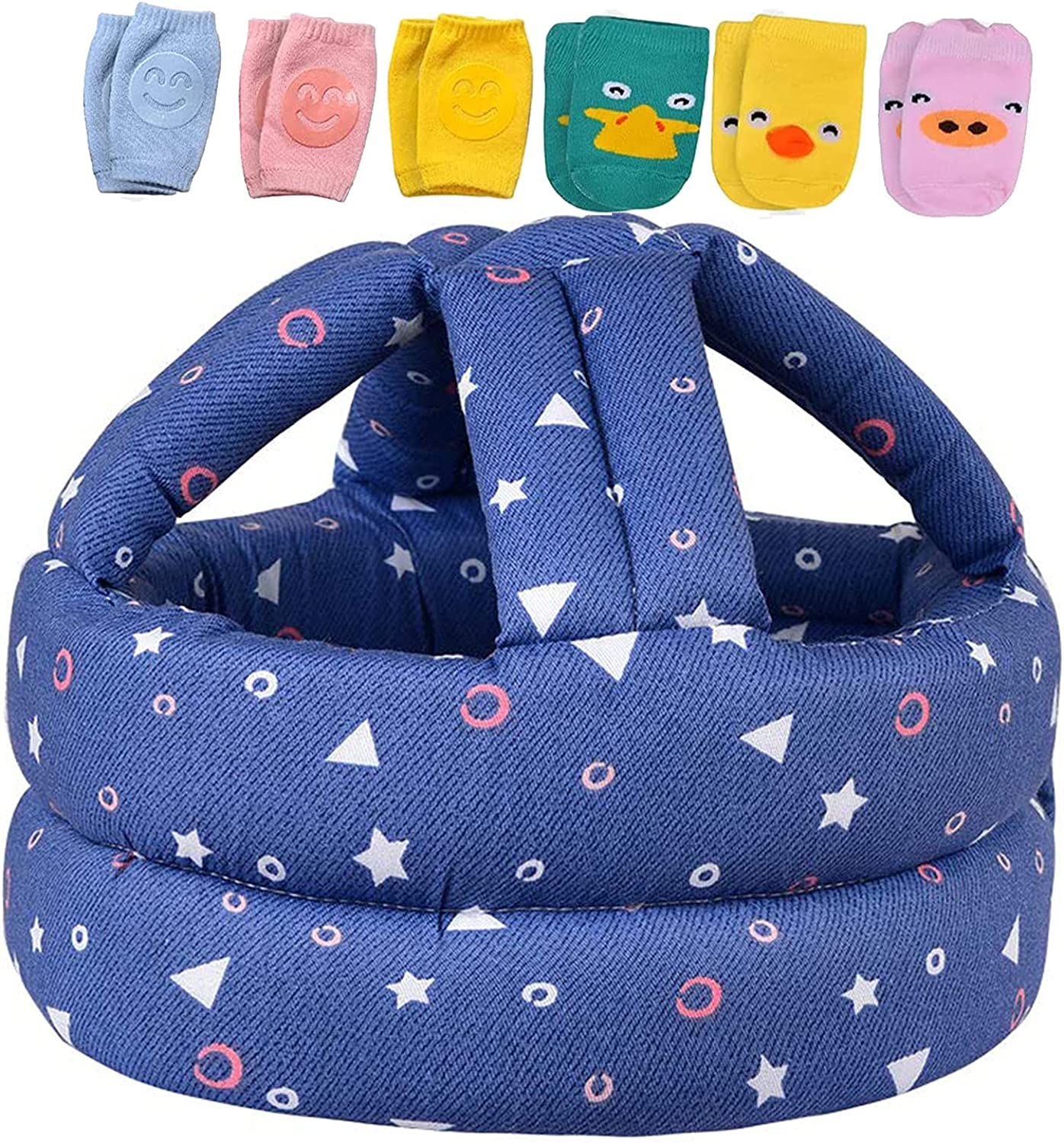 Baby Safety Helmet, Infant Baby Head Protector for Crawling, Head Cushion Bumper Bonnet, Soft Headguard for Toddler Learning to Walk,Blue,Gray, Yellow