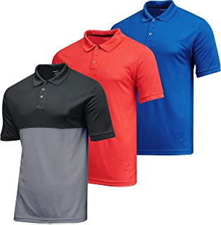 3 Pack: Men's Dry-Fit Short Sleeve Active Athletic Performance Polo Shirt- Classic Fit