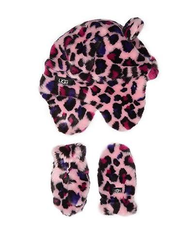 UGG Kids Faux Fur Trapper and Mitten Set (Little Kid/Big Kid) (Leopard Fairytale) Extreme Cold Weather Gloves