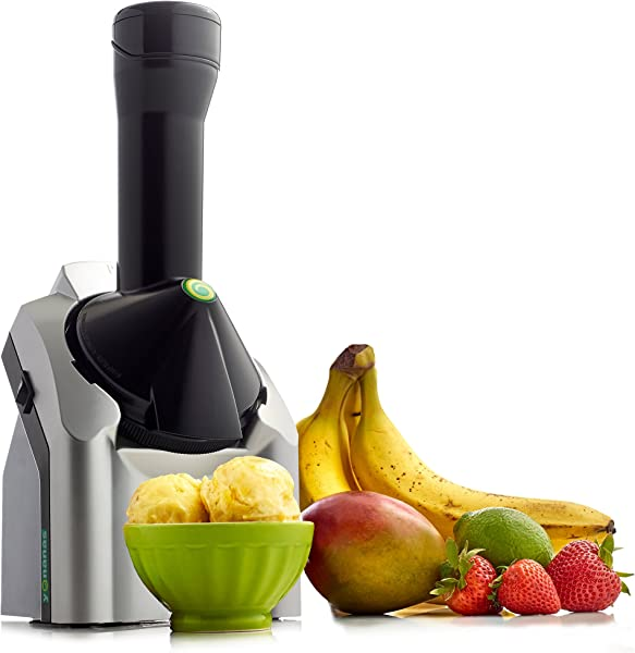 Yonanas 902 Classic Original Healthy Dessert Fruit Soft Serve Maker Creates Fast Easy Delicious Dairy Free Vegan Alternatives To Ice Cream Frozen Yogurt Sorbet Includes Recipe Book BPA Free Silver