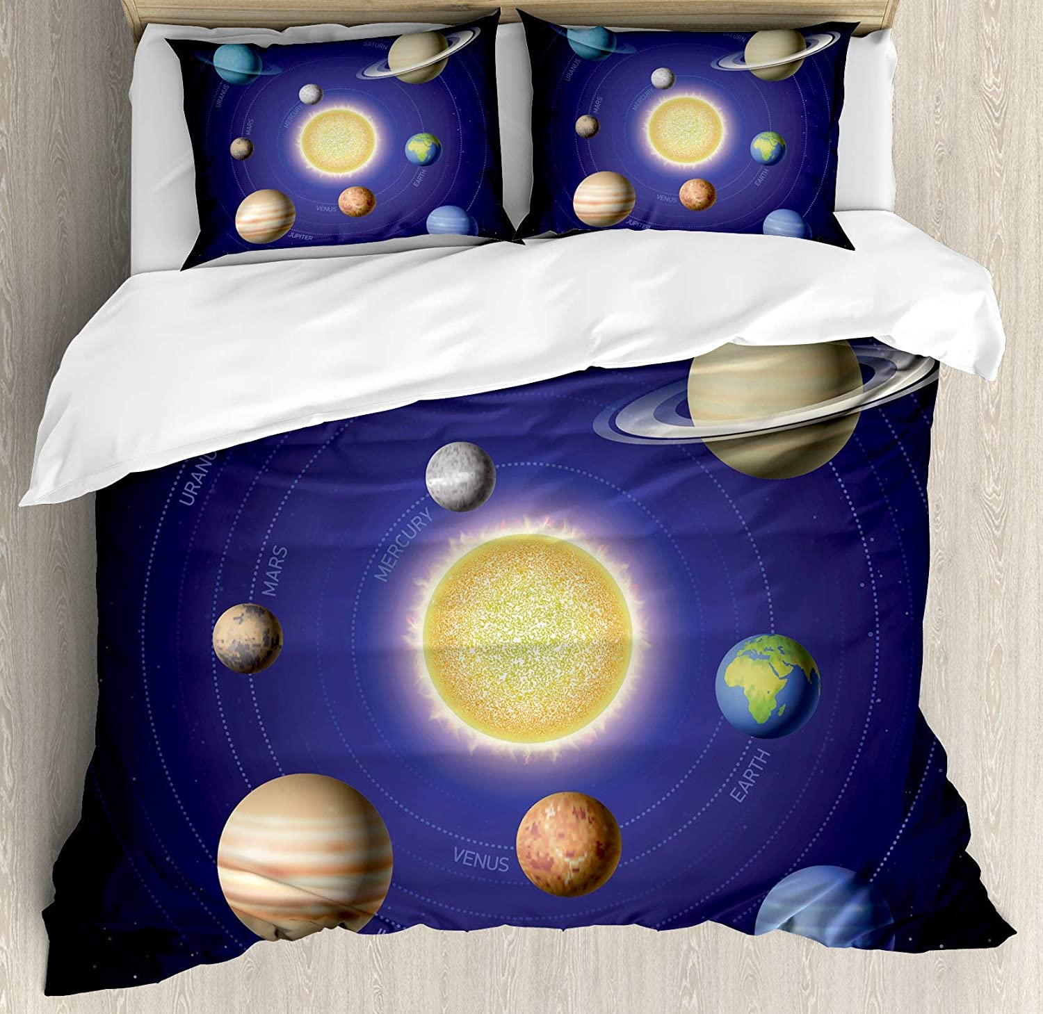 BULING Space 4pc Bedding Set Queen Size, Solar System Illustration Showing Planets Around Sun Harmony of Galaxy Science Room Image Floral Lightweight Microfiber Duvet Cover Set, Multi