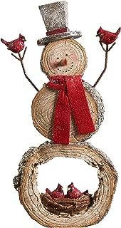 Gift Craft Snowman Log Slice Nest 6.5 x 11.5 Inch Resin Stone Christmas Tabletop Figurine