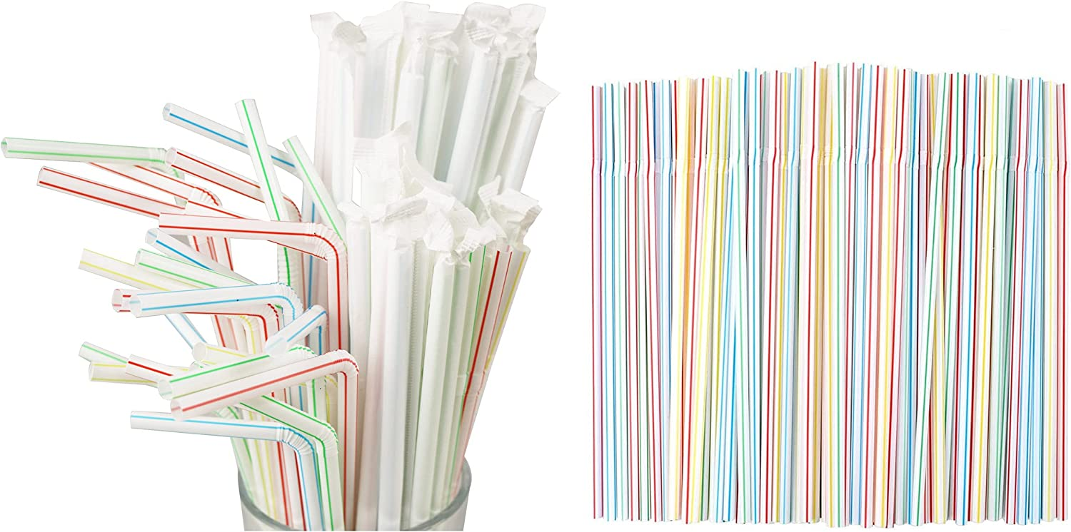 500 Pcs 8.27 Inch Super beauty product restock quality top! Colorful Flexible Drinking Straws Plastic Indi Ranking TOP4