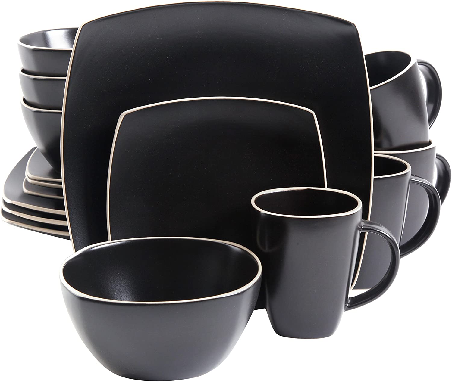 Gibson Overseas, Inc. Gibson Home 102261.16RM Soho Lounge Square 16-Piece Dinnerware Set Service of 4, Stoneware, Black Matte, Dinnware