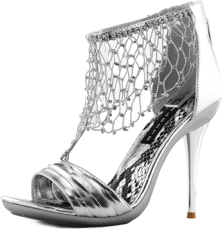Women's Platform Stilettos High Heel Dress Evening Shine Crystal Pump Drape Sandals Fashion shoes