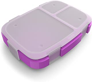 Bentgo Fresh Tray (Purple) with Transparent Cover - Reusable, BPA-Free, 4-Compartment Meal Prep Container with Built-In Portion Control for Healthy At-Home Meals and On-the-Go Lunches