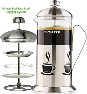 Ovente French Press Coffee 34 Ounce Heat Resistant Borosilicate Glass & 3 Stainless Steel Plunger Filter System, Portable Pit