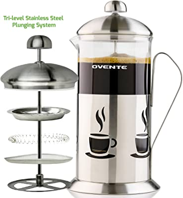 Ovente French Press Coffee 34 Ounce Heat Resistant Borosilicate Glass & 3 Stainless Steel Plunger Filter System, Portable Pitcher Tea Maker with Mesh Filter and Free Measuring Scoop, Silver FSC34S