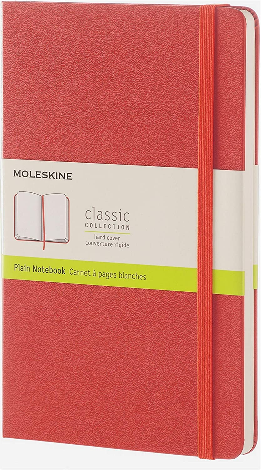 Moleskine OFFicial mail order Classic Notebook Large Plain Coral Orange Hard Be super welcome Cov