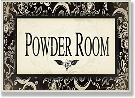 The Stupell Home Decor Collection Powder Room Black and Beige Bathroom Wall Plaque