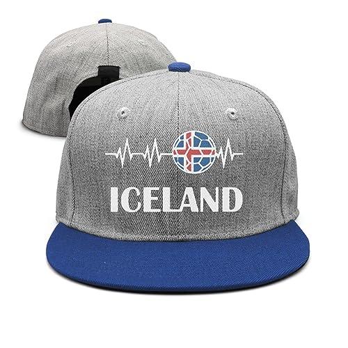 60e18edd600 Unisex Soccer Heartbeat I Love Iceland Cotton Denim Baseball Hat Adjustable