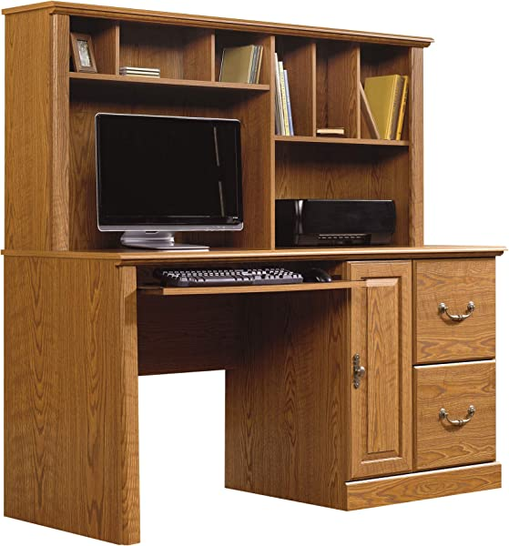 Sauder 401354 Orchard Hills Computer Desk With Hutch L 58 74 X D 23 47 X H 57 24 Carolina Oak Finish