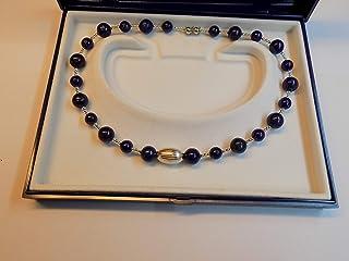 collana Lapislazzuli blu sfere,tutto rifinito con argento 925