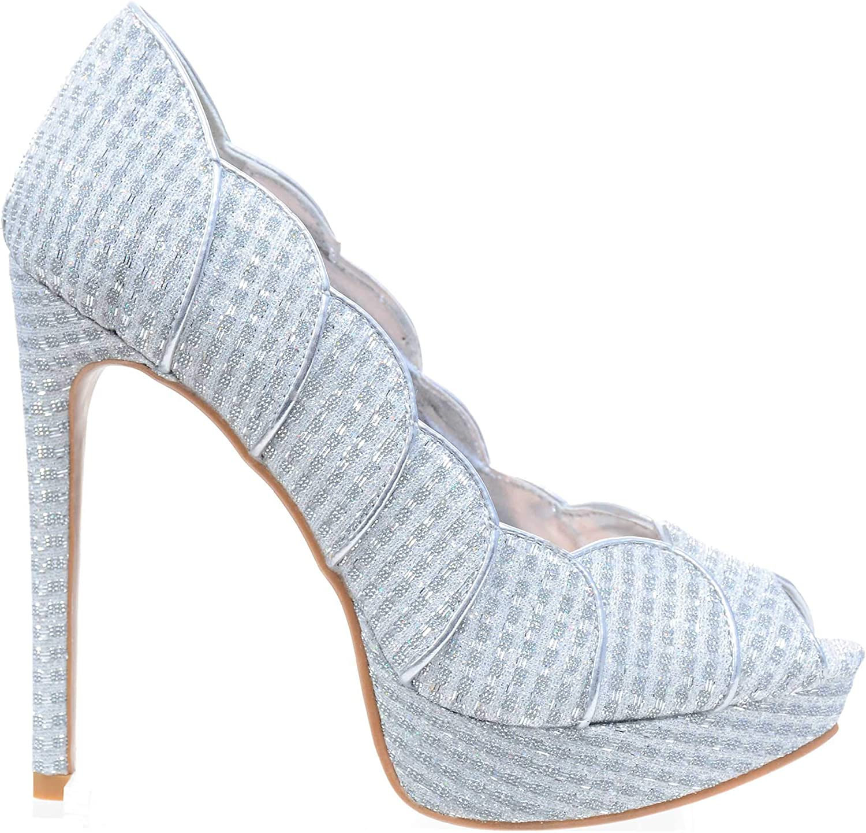Fourever Funky Silver Scalloped Glitter Peep-Toe Stiletto Heels Pump Women's