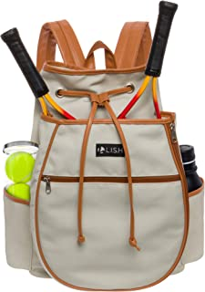 LISH Match Point Canvas Tennis Racket Backpack - Solid Drawstring Racquet Holder Bag