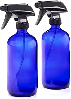 16oz Empty Cobalt Blue Glass Spray Bottles w/Labels and Caps- Mist & Stream Sprayer - BPA Free - Boston Round Heavy Duty Bottle - For Essential Oils, Cleaning, Kitchen, Hair, Perfumes (2 Pack)
