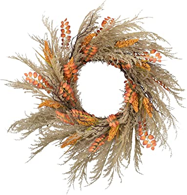 RED DECO Fall Reed Harvest Wreath for Front Door - 22-24 inch Artificial Door Wreaths for Home Farmhouse Wall Decor All Seasons