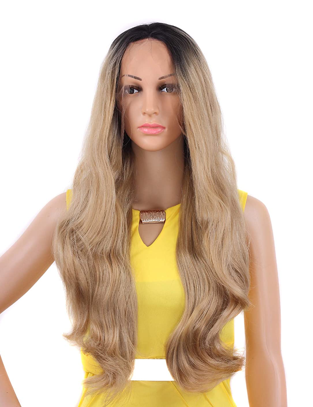 Tripal Hairs Ombre Blonde Lace Front Wigs for White Women Natural Wavy Heat Resistant Wig 22 Inches