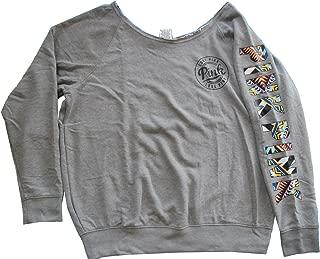 Victoria's Secret PINK Off Shoulder Crew Sweatshirt Large Aztec Gray