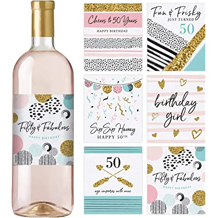 Amazon Com 6 50th Birthday Wine Bottle Labels Or Stickers Present 1971 Bday Milestone Gifts For Her Women Cheers To 50 Years Funny Fifty Pink Black Gold Party Decorations Supplies For Friend Wife