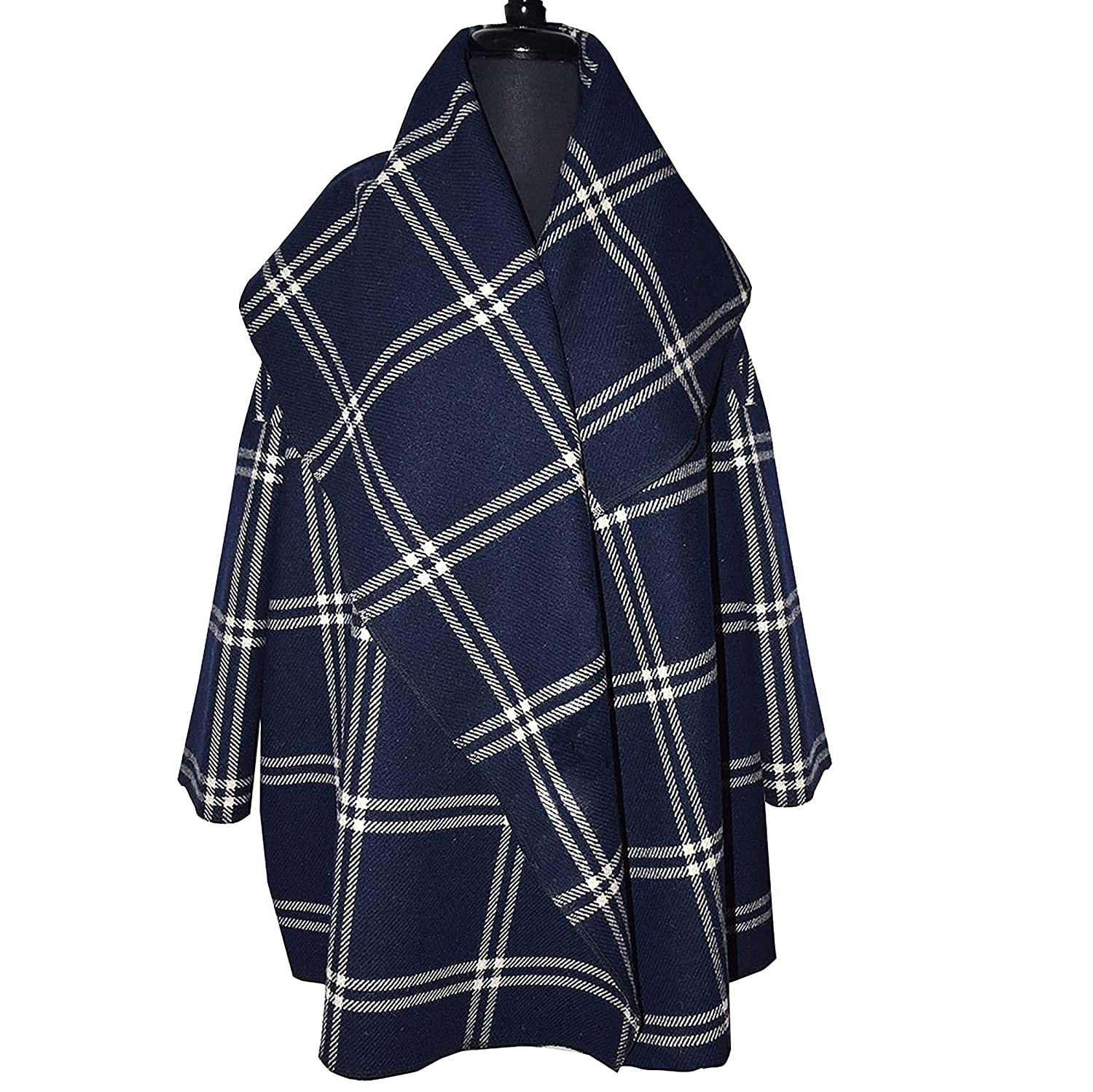 Gorgeous Navy Plaid Wool Spasm price Max 52% OFF Cape Tie with
