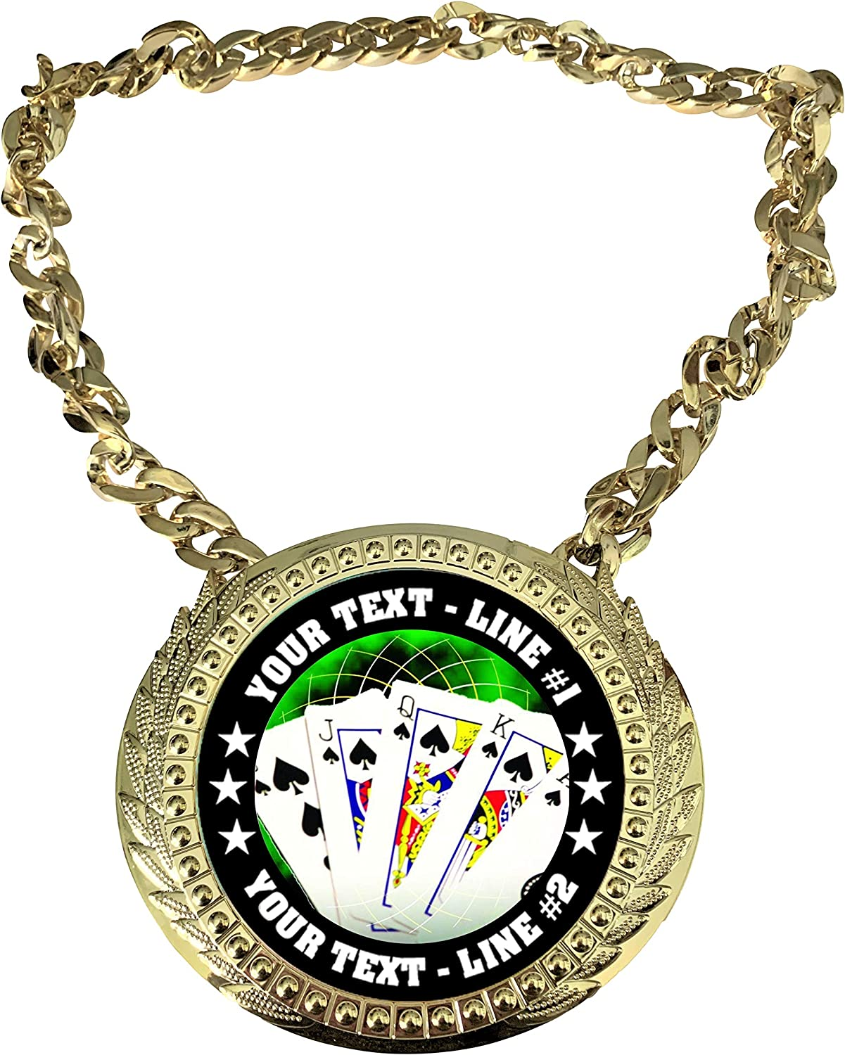 Express Medals Custom Overseas parallel import regular item Poker Quality inspection Holdem Champ Trophy with Chain Stud