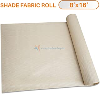 TANG Sunshades Depot 8'x15' Shade Cloth 180 GSM HDPE Beige Fabric Roll Up to 95% Blockage UV Resistant Mesh Net for Outdoor Backyard Garden Plant Barn Greenhouse