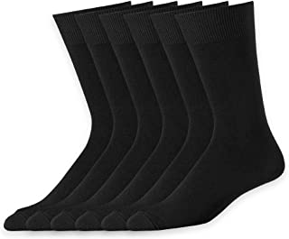 6 Pack Mens Classic Dress Socks Casual Formal Business Work Cotton Crew Socks Solid Black