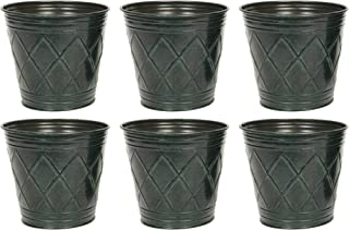 Hosley Set of 6 Green Metal Galvanized Floral Pots Planters 4.75 Inches High Ideal for Dried Flower Arrangements Weddings ...