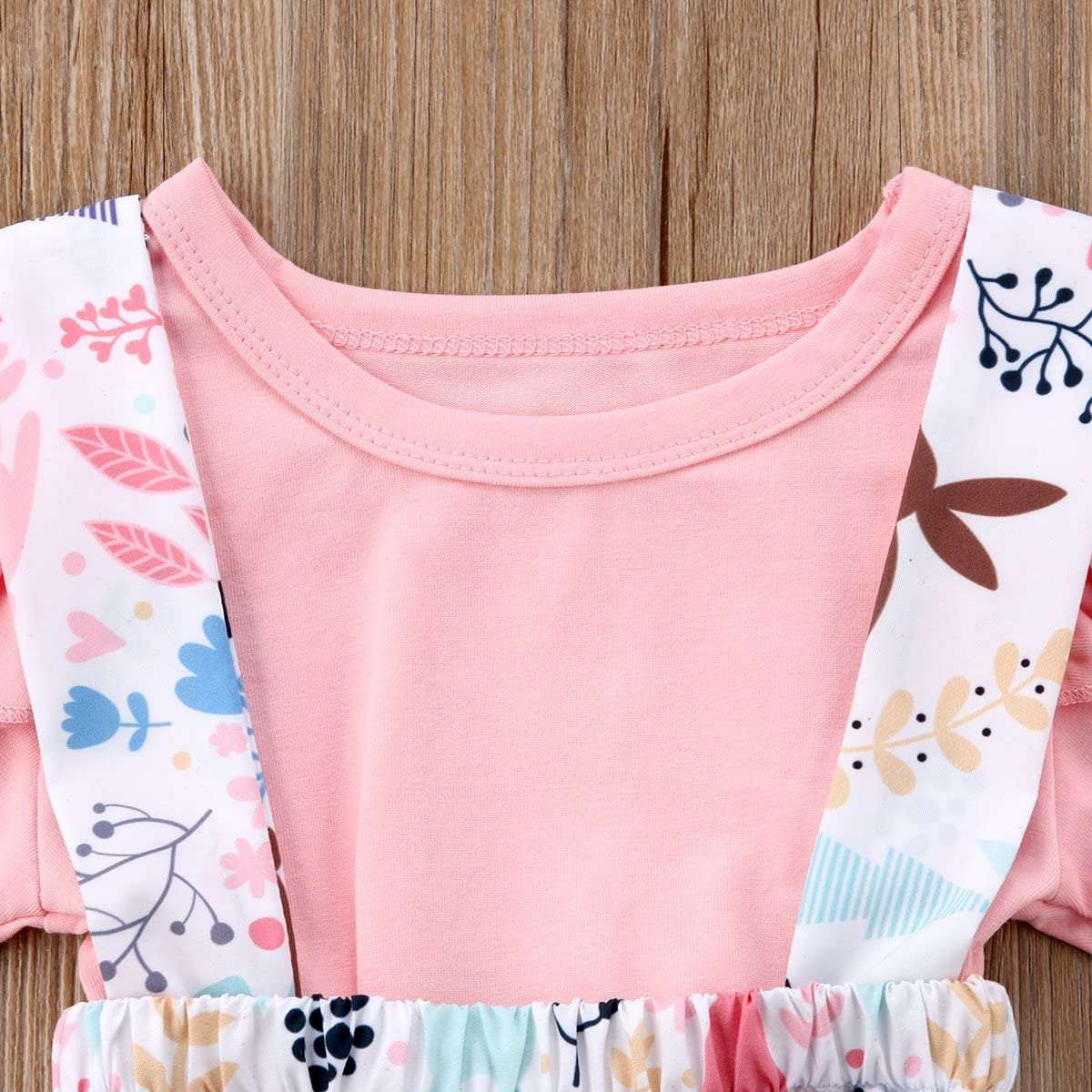 Toddler Baby Girl Ruffle Sleeve Romper Bodysuit+Floral Suspender Overall Strap Dress Skirt+Headband Cotton Outfits