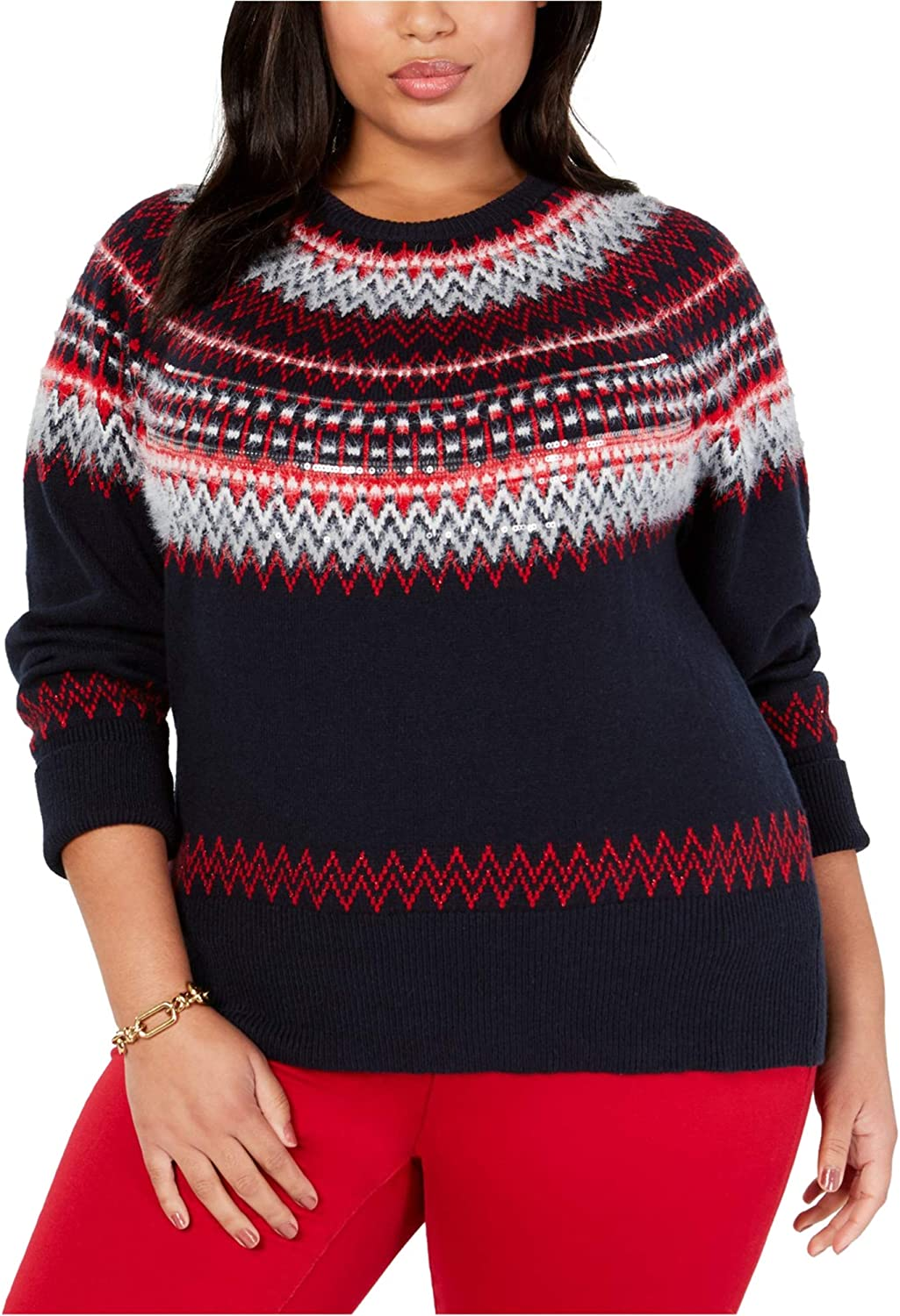 Tommy Hilfiger Womens Sequin Pullover Sweater